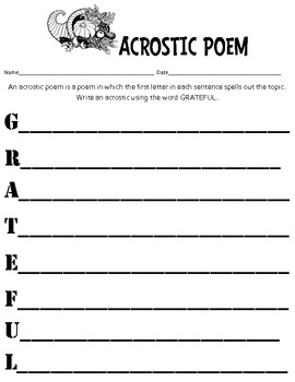 Thanksgiving Acrostic Pack
