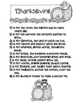 thanksgiving acrostic poem by kristal teachers pay teachers
