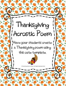 thanksgiving acrostic poem by teaching heart to heart tpt