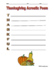 Thanksgiving Acrostic Poem for Thankful FREE