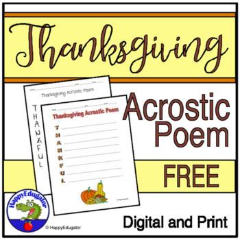 Thanksgiving Acrostic Poem - Thankful - FREE