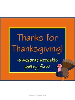 Thanksgiving Acrostic Poem & Word Scramble Activity Fun &