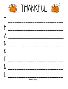 Thanksgiving Acrostic Poem Writing Paper