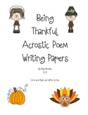 Thanksgiving Acrostic Poem Writing Paper