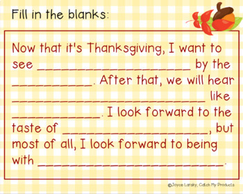 Thanksgiving Acrostic Poem for Promethean Board