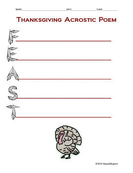 Thanksgiving Writing Acrostic Poems - Set of 20