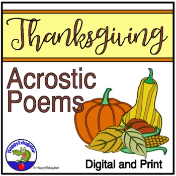 thanksgiving writing acrostic poems set of 20 by happyedugator