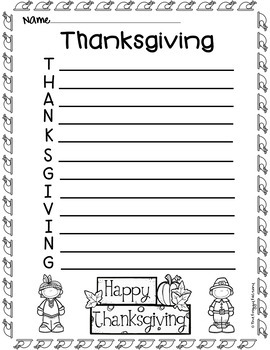 Thanksgiving Acrostic Poems (Thanksgiving Writing Activity)