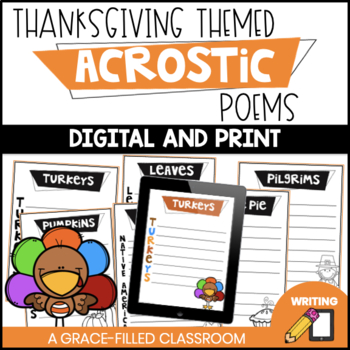 Thanksgiving Acrostic Poems | Fall Poetry | November Poetry