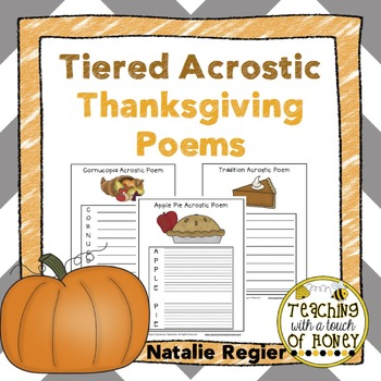 Thanksgiving Acrostic Poems: Tiered Writing Templates