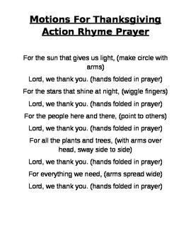 Thanksgiving Action Rhyme Prayer