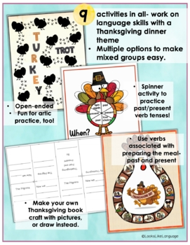Thanksgiving Language Activities: A Past and Present Sentence Game
