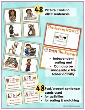 Sentence Building Picture Activities for Thanksgiving Past and Present