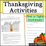 Thanksgiving Activities Grade 4 - 6, and Bright Third Graders
