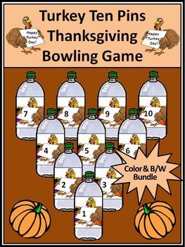 Thanksgiving Math Activities: Turkey Ten Pins Thanksgiving Game Activity