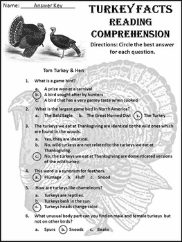 Thanksgiving Reading Activity: Turkey Facts Thanksgiving Science Activity Packet