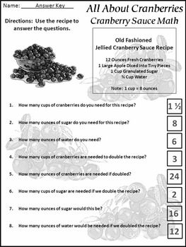 Thanksgiving Activities: All About Cranberries Activity Packet - BW Version