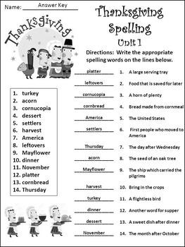 Thanksgiving Spelling Activities: Thanksgiving Spelling Activity Packet