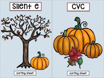 Thanksgiving Activities: CVC & Silent E Word Sort