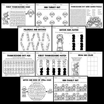 Thanksgiving Worksheets (Kindergarten, 1st and 2nd Grade Activities)