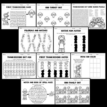 Thanksgiving Activities (Thanksgiving Worksheets Kindergarten, 1st , 2nd Grade)