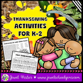 Thanksgiving Worksheets (Kindergarten, 1st and 2nd Grade A