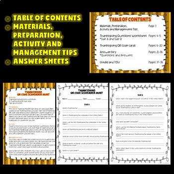 Thanksgiving Activities (Thanksgiving QR Codes Scavenger Hunt)