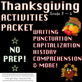 Fall Thanksgiving reading comprehension passages and questions