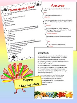 Thanksgiving Activities - Quiz - The Rock - Frames - Writing  paper