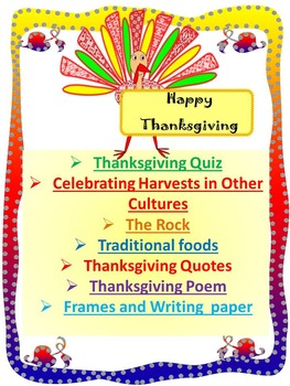 Thanksgiving Activities - Quiz - The Rock - Frames - Writi