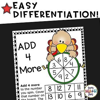 Thanksgiving Activities: Differentiated Addition Games for Addition Fact Fluency