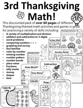 FULL SET Thanksgiving Activities 3nd Grade Math & Language Thanksgiving 3rd