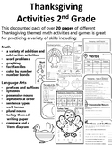 Thanksgiving Activities 2nd Grade Thanksgiving Math & Lang