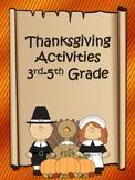 Thanksgiving Activities 3rd-5th Grade