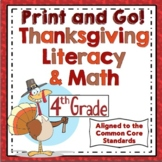 4th Grade Thanksgiving Activities: 4th Grade Thanksgiving ELA and Math