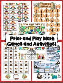 4th Grade Thanksgiving Activities: 4th Grade Thanksgiving ELA and Math