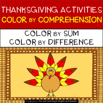 Thanksgiving Activities - Color by Sum/Difference and Colo