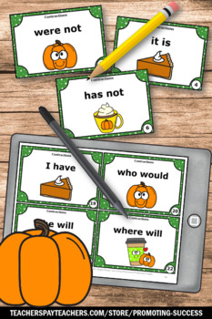 Thanksgiving Literacy Centers, Contraction Task Cards, Grammar Games