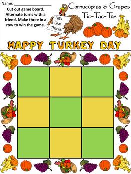 Thanksgiving Activities: Cornucopias & Grapes Fall-Thanksgiving Tic-Tac-Toe Game