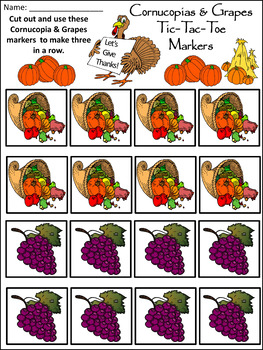 Thanksgiving Activity: Cornucopias & Grapes Tic-Tac-Toe Thanksgiving Game Bundle