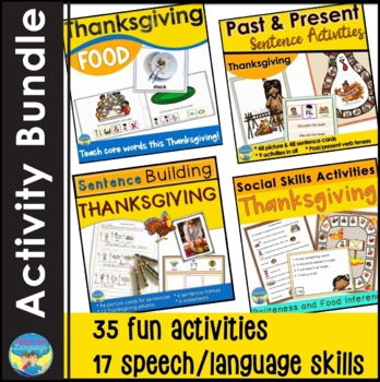 Thanksgiving Speech Language Picture Activities Bundle for Past and Present