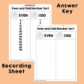 Thanksgiving Activities: Even and Odd Number Sort