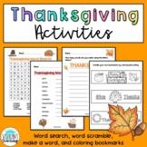 Thanksgiving Activities- Fun Word Games