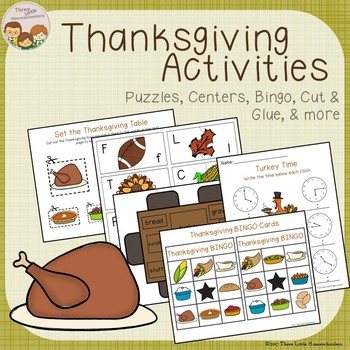 Thanksgiving Activities Games and Centers