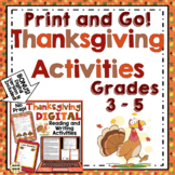 3rd, 4th, and 5th Grade Thanksgiving Activities: No Prep Thanksgiving ELA
