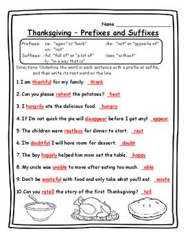 Thanksgiving Activities Grammar - Prefixes and Suffixes - Thanksgiving Prefixes