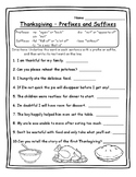 Thanksgiving Grammar Thanksgiving Prefixes & Suffixes Thanksgiving Suffixes ELA