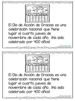 Thanksgiving Activities IN SPANISH for K-1
