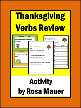 Thanksgiving Activities Language Arts Verbs Review