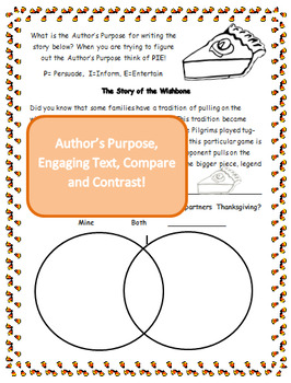 Thanksgiving Activities Lapbook Author's Purpose Fluency Compare Contrast